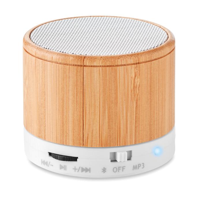 Round Bamboo Bluetooth speake
